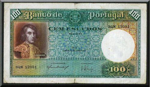 PORTUGAL 100 ESCUDOS 1941 PICK#150 RARE