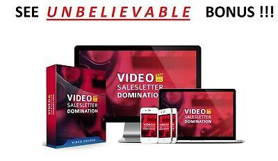 Video Salesletter Video Training - see unbelievable bonus - receive now