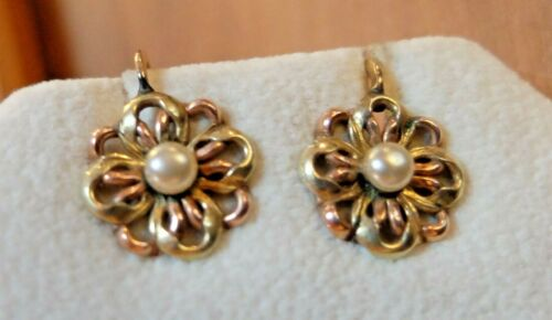 Vintage Edwardian Gold Filled Yellow & Rose Gold Pearl GF Screw Back Earrings