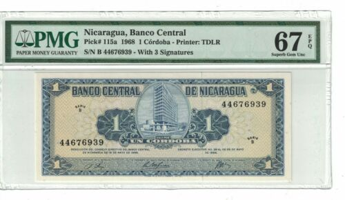 Nicaragua 1 Córdoba 1968 PICK# 115a PMG: 67 EPQ GEM UNC. (#2129)