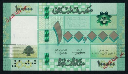 Lebanon 100000 Livres 2017 SPECIMEN UNC *RARE DATE*  Liban Libano