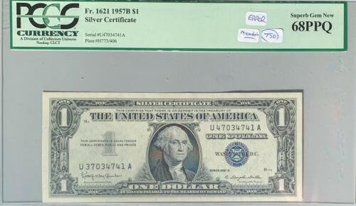 Fr. 1621 Mismatch Serial Number ERROR 1957B $1 Silver Certificate PCGS 68 PPQ
