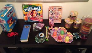 Toys, Bag Of Marbles, Sidewalk Chalk, String Of Lights and Doll