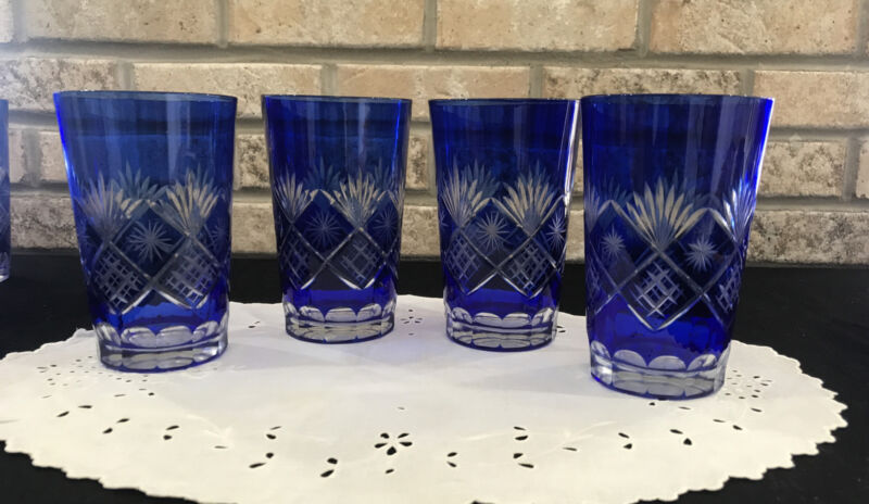 """VINTAGE BOHEMIAN CUT TO CLEAR COBALT BLUE Drinking GLASSES SET OF 4 Large 5.5"""""""