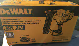 Dewalt 20v Max cordless 18g nailer kit brand new in box