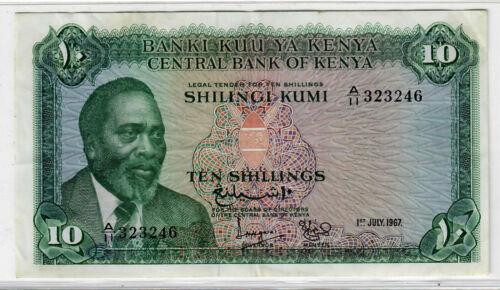 Kenya 10 Shillings 1967 p-2b VF