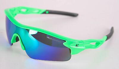 VeloChampion Warp Fluoro Grün Rahmen Sonnenbrille (mit 3 Linsen) Radfahren Sport