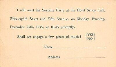 New York City~Chas E Gehring Hotel Review~Savoy Cafe Surprise Party~1915 Postal (Party City Ny)