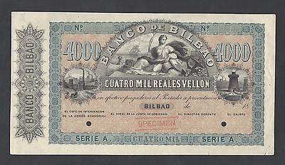 Spain  Banco De Bilbao 4000 Reales De Vellon 18   1959  Ps256s Specimen Aunc