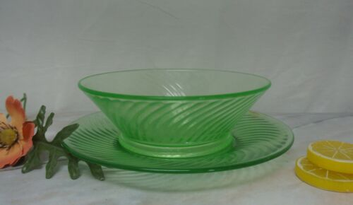Set of Plate and Footed Bowl Green Swirl Depression Glass