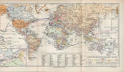 Landkarte map 1909: Karte des Welt-Telegraphen-Netzes. Telegrafen Erde Technik