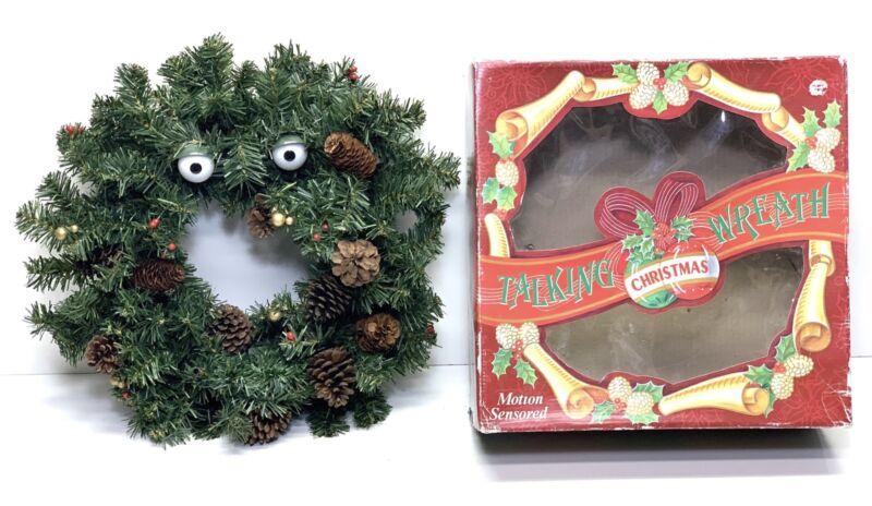 "1997 Gemmy Animated Singing/Talking Christmas Wreath  W/Box 14"" - Parts/Repair"