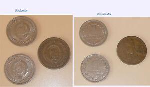 3 Stück jugoslawische Münzen, 1 x 20 Dinar 1955, 2 x 1 Dinar 1965 - Maria Lanzendorf, Österreich - 3 Stück jugoslawische Münzen, 1 x 20 Dinar 1955, 2 x 1 Dinar 1965 - Maria Lanzendorf, Österreich