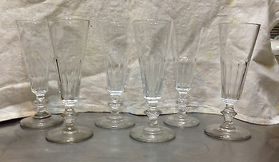 Antique Anglo-Irish Panel Cut Champagne Flutes Flint Glass