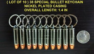 ( LOT OF 10 ) REAL BULLET KEYCHAIN 38 SPECIAL HOLLOW POINT NICKEL CASING
