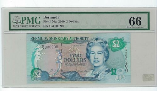 Bermuda 2 Dollars, 2000, P-50a, PMG 66 EPQ Serial # 200 Low #