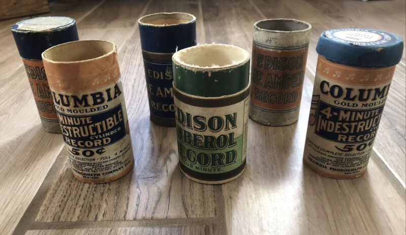 """6 COLUMBIA & EDISON 6"""" CYLINDER PHONOGRAPH RECORD CONTAINERS (NO RECORDS) Vtg"""