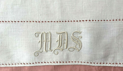 antique linen runner cream w great MDS monogram Gothic script, fancy laddering