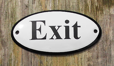 CLASSIC ENAMEL EXIT SIGN. BLACK TEXT ON A WHITE BACKGROUND. (Classic White Exit Signs)