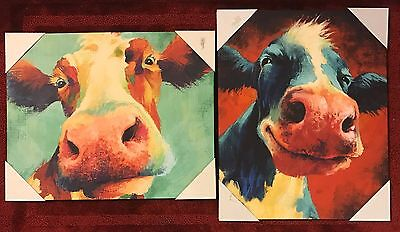 Dollar General Smiling Cow Canvas Painting Picture Print Dg Cnn Two Cows