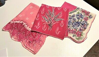 3 Pink Vintage Handkerchiefs (1 Artist Signed; Erin O'Dell)