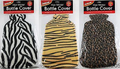 Hot Water Bottle Cover Animal Zebra Tiger Leopard Fleece For 2 Litre Bottles