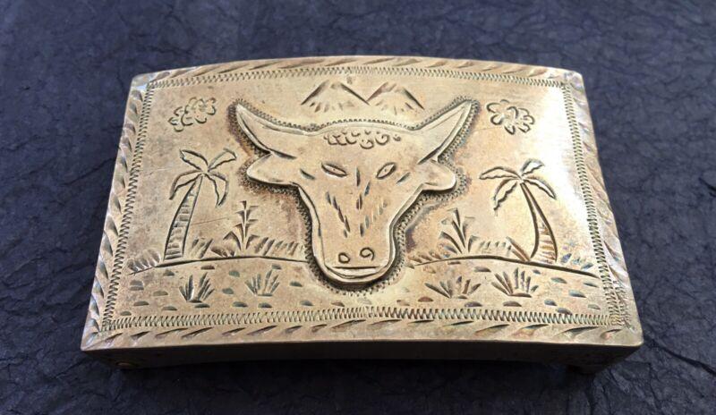 VTG 💥RARE💥 Old Mexican STERLING SILVER Handmade STEER & LANDSCAPE Belt Buckle