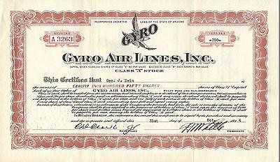 ARIZONA 1934, Gyro Air Lines Stock Certificate