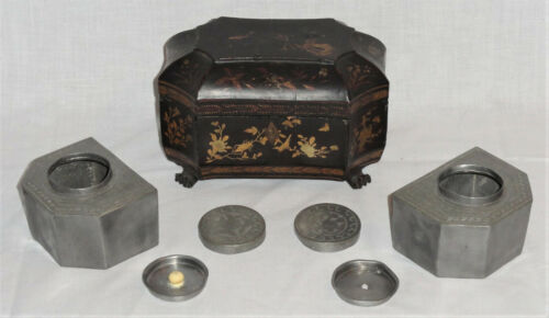 Antique Chinese Lacquer Gilt Tea Caddy w Pewter Inserts Insect Bird Flower Motif