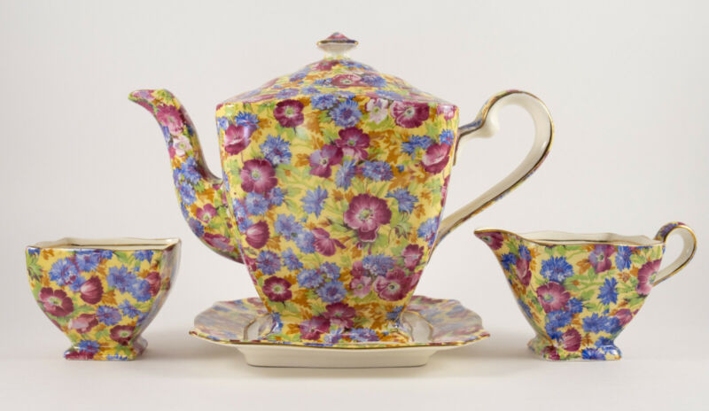 "Royal Winton Grimwades ""Royalty"" Chintz Teapot w Sugar/Creamer and Underplate"