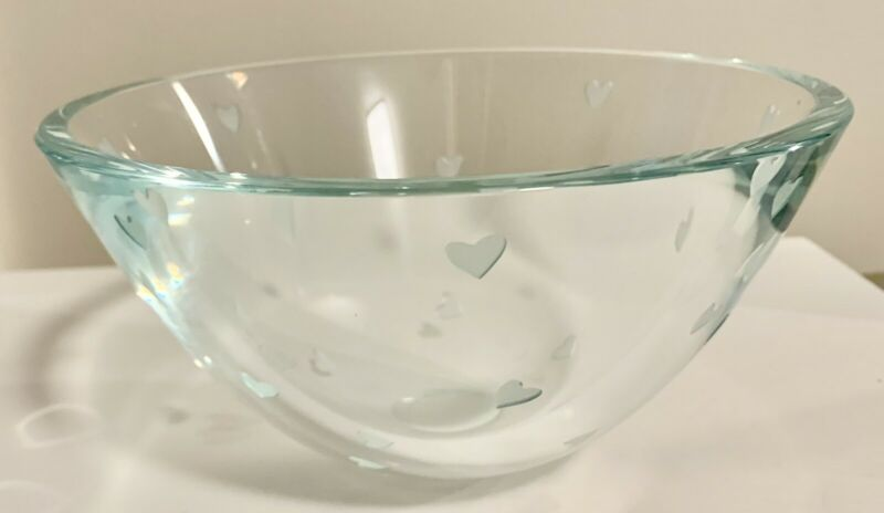 """Gorgeous Stephen Schlanser Scattered Hearts Bowl - 7""""W Signed By Artist"""