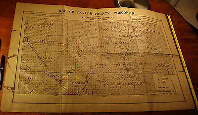 1909 ANTIQUE Taylor County Wisconsin MAP