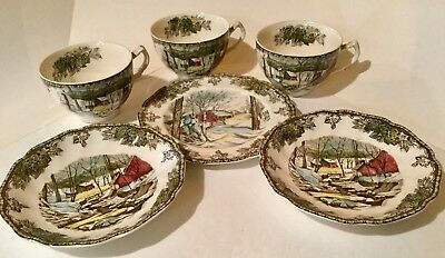 6 Pieces Johnson Bros The Friendly Village 3 Cups 3 Small -