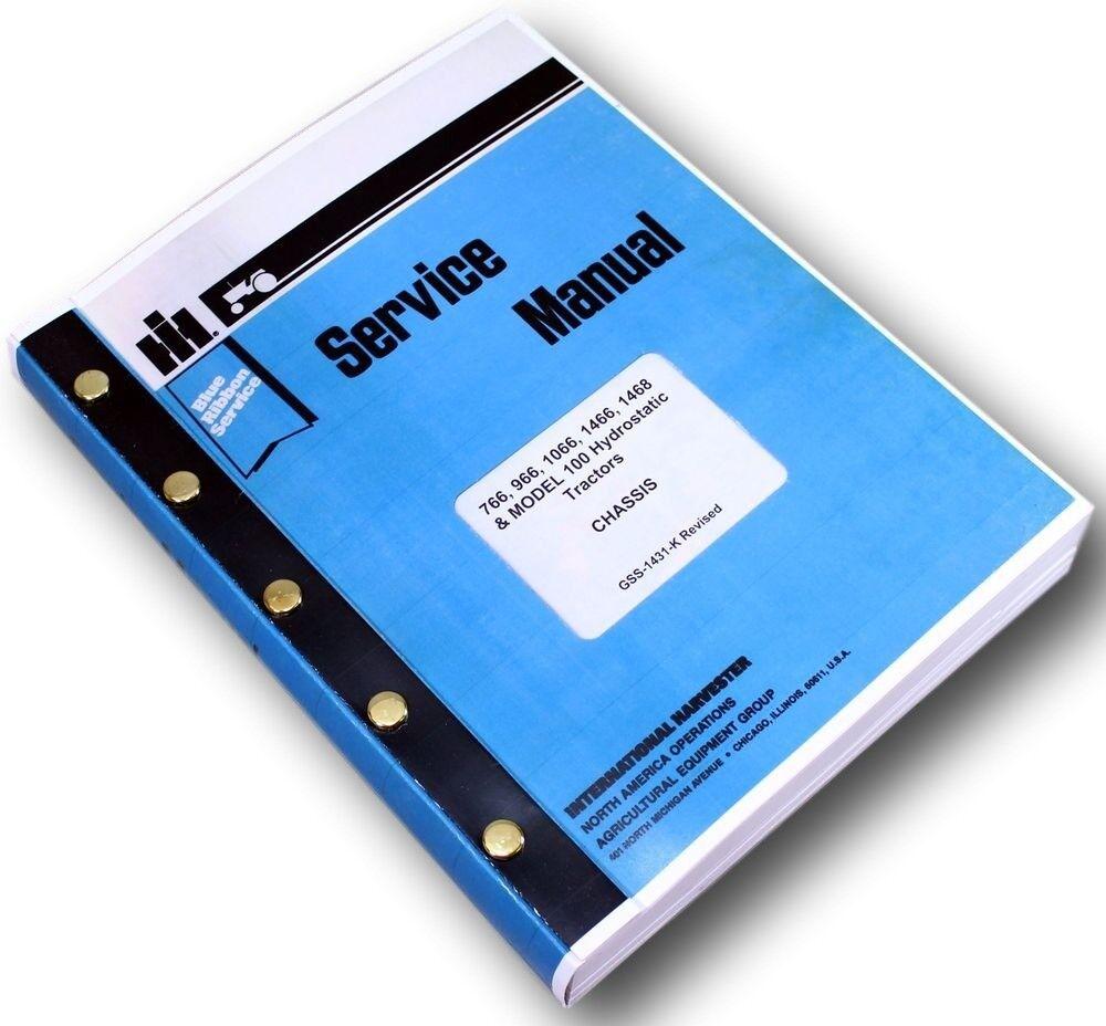 INTERNATIONAL 766 966 1066 1466 1468 HYDRO 100 TRACTOR SERVICE MANUAL SHOP BOOK