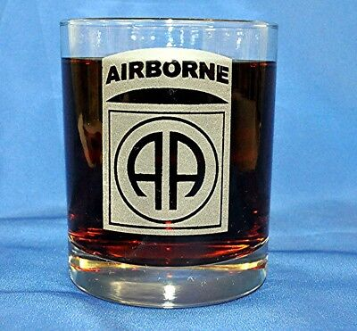 Airborne Emblem (82nd Airborne Emblem custom etched on Double Old Fashion set of 4)