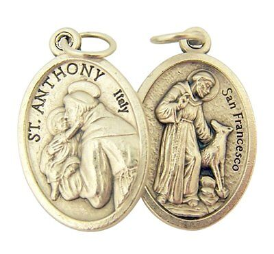 Silver Toned Base Saint Anthony with St Francis Medal, 1 Inch, Set of 2
