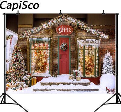 Shining Christmas Gifts Backdrops House Snowflake Decor Photography Backgrounds - Snowflake Backdrop