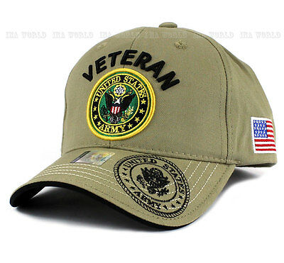 U.S. ARMY hat Military VETERAN ARMY Official Logo Flag Baseball cap- Khaki Beige