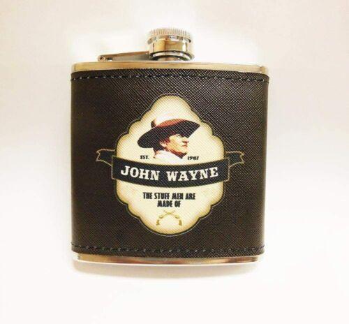John Wayne Metal Flask  Brown Leather Cowboy Hero 5 fl oz NEW nice