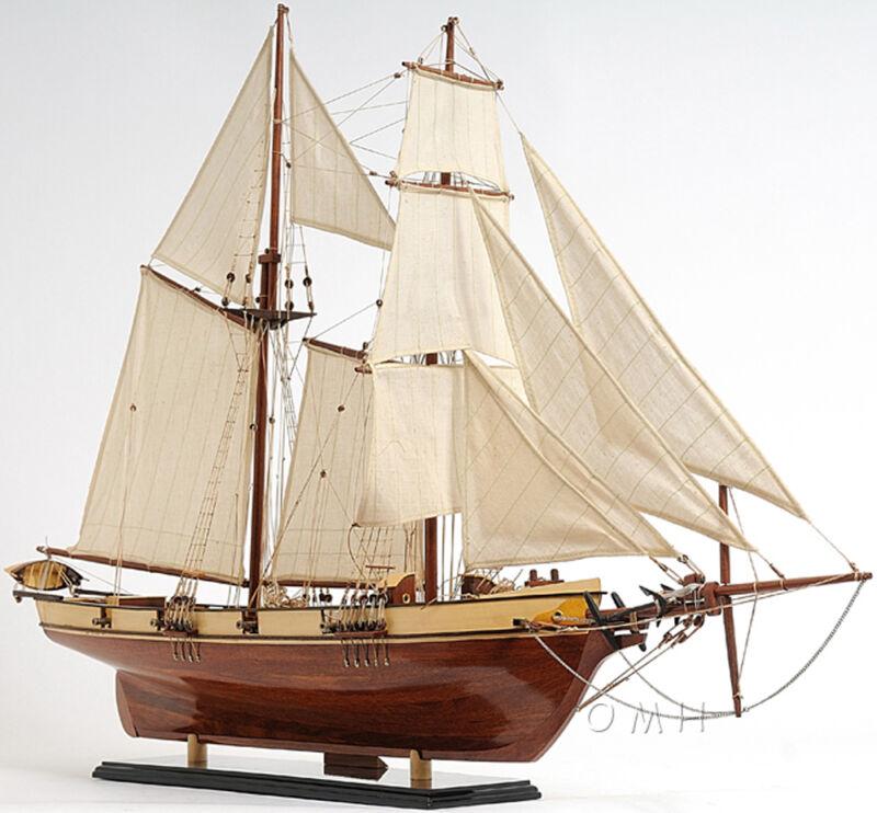 "Harvey Baltimore Clipper Tall Ship 35"" Built Wooden Model Boat Varnish Assembled"