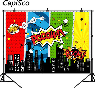 Superhero Birthday Party Cartoon Photography Backgrounds Baby Shower - Baby Shower Back Drop