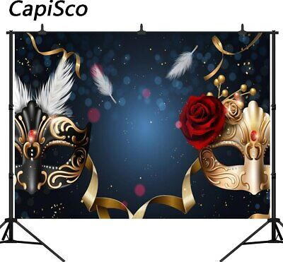Masks Red Rose Dance Party Prom Backdrop Masquerade Party Photography Background - Masquerade Backdrop