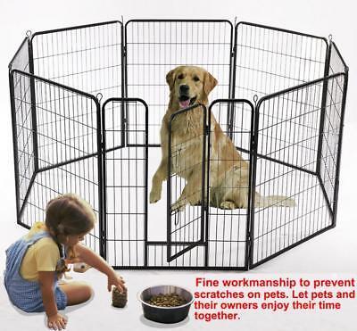 """Large 32"""" Heavy Duty 8 Panel Folding Metal Pet Playpen Dog Exercise Animal Fence"""