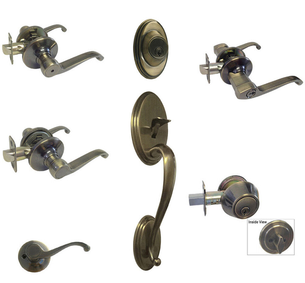 Antique Brass door knobs lever keyed entry privacy passage d