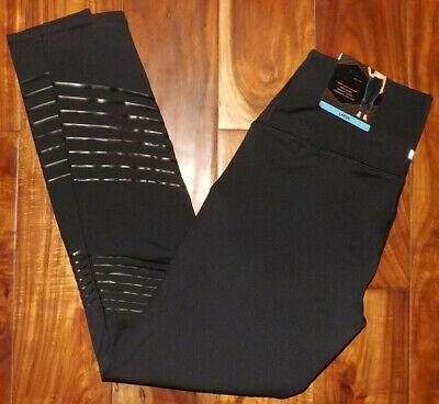 Z by Zobha Womens Leggings Pants High Waist Black Stripe Shine  Size S Small