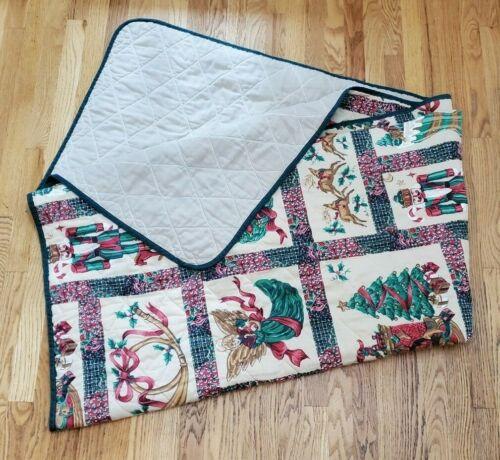 "Vintage Handmade Christmas Quilt 98"" x 85"""