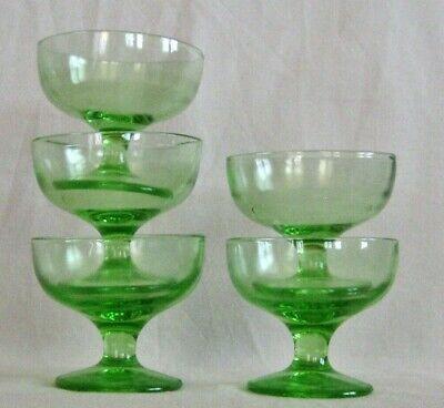 5 Vaseline Glass Footed Sherbet Champagne Dessert Cups Depression Green Uranium