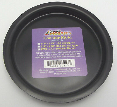 "4 1/4"" Round Coaster Mold Reusable Durable Plastic Mosaic Supplies"