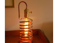 Antique Vintage Industrial Rustic Steampunk Style Handmade Copper Coil Lamp Filament Warm Glow Light