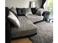 Black/Grey Velvet Corner Left Hand Sofa +++ Free Footstool Practically Brand New